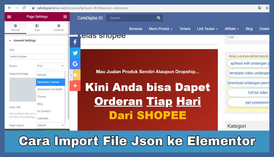 Cara Import File Json ke Elementor